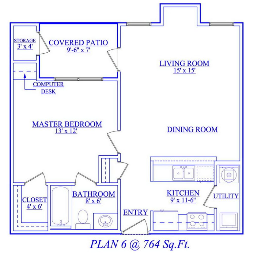 One Bedroom Floor Plan 13